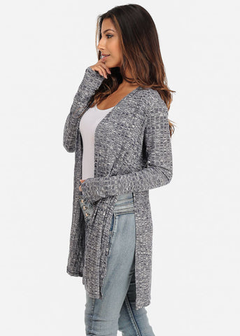 Blue Cardigan with Side-Slits