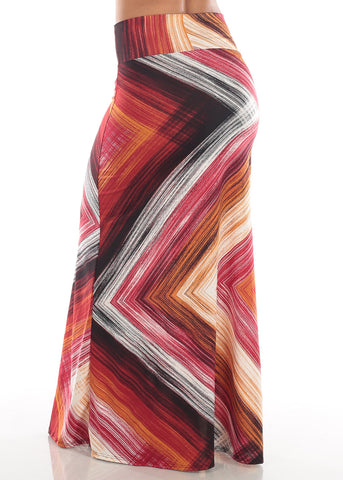 Image of Cute Casual Super Stretchy High Waisted Burgundy Multi Color Zig Zag Print Long Maxi Skirt For Women Ladies Junior On Sale Affordable Price
