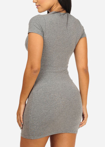 Casual Basic Grey Mini Dress