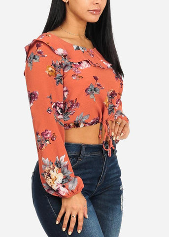 Image of Floral Drawstring Crop Top