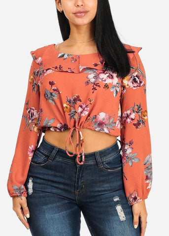Floral Drawstring Crop Top