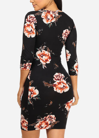 Coral Floral Bodycon Dress