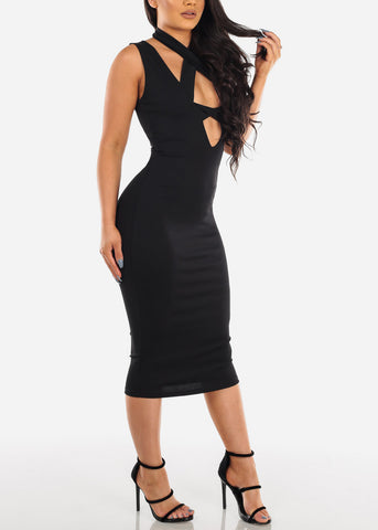 Image of Sexy Solid Black Sleeveless Tight Fit Midi Dress For Women Ladies Junior Party Clubwear Night Out Miami Style Fashion