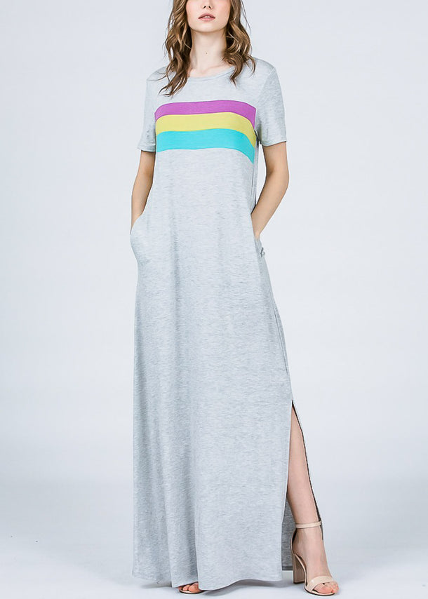 Chest Stripe Grey Maxi Dress