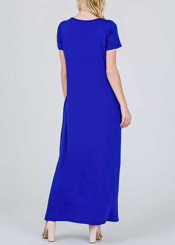 Chest Stripe Blue Maxi Dress
