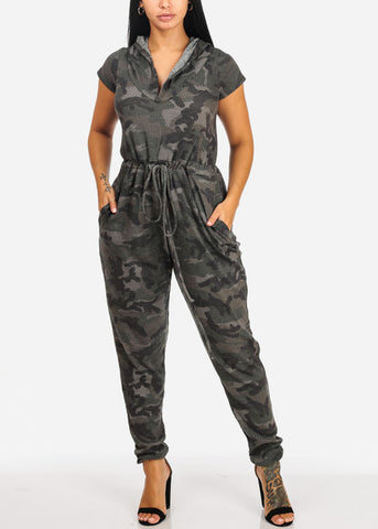 Casual Camouflage Elastic Waist Jumpsuit
