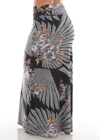 Image of Cute Casual Super Stretchy High Waisted Multi Print Black Long Maxi Skirt For Women Ladies Junior On Sale Affordable Price