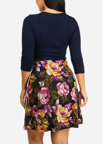 Wrap Front Navy Floral Dress
