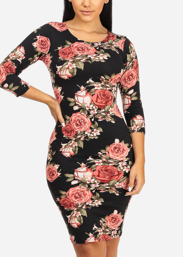 Pink Rose Bodycon Dress