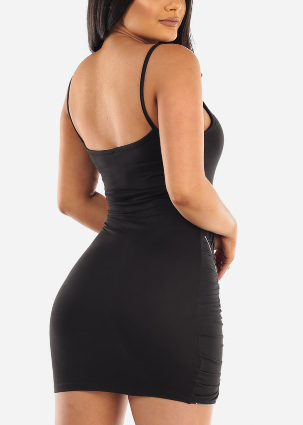 Sexy Mini Zipper Black Dress