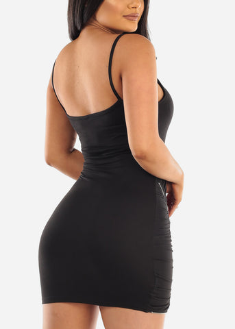 Image of Sexy Clubwear Going Out Party Club Tight Fit 2019 Little Black Bodycon Mini Dress