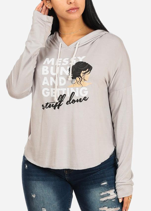 Messy Bun Graphic Light Grey Hoodie