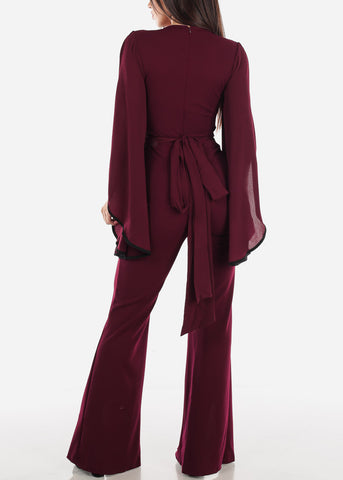 Slit Sleeve Wine Jumpsuit