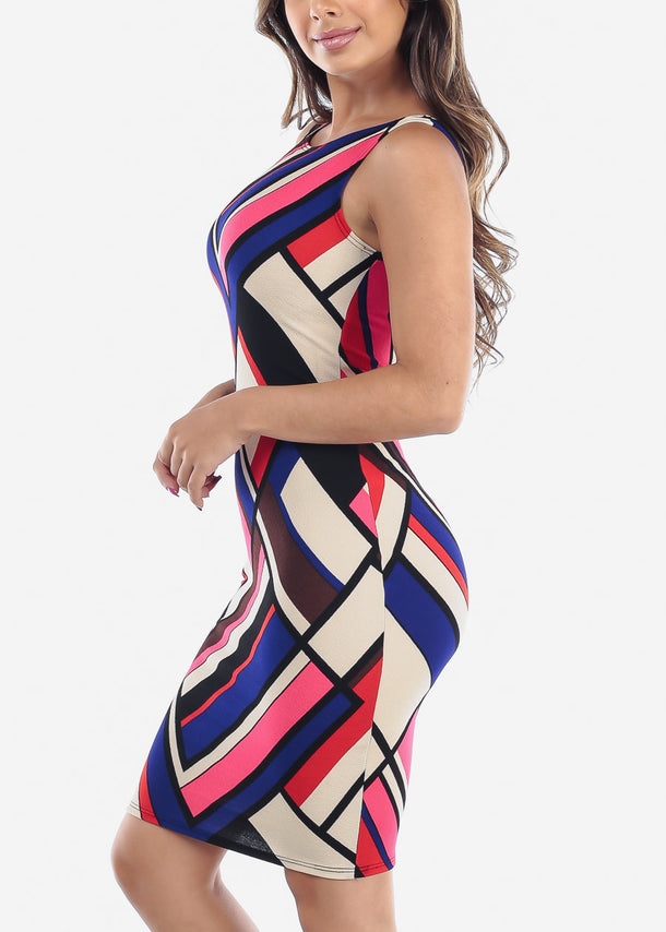 Multicolor Beige Geometric Print Dress