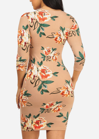 Image of Beige Floral Bodycon Dress