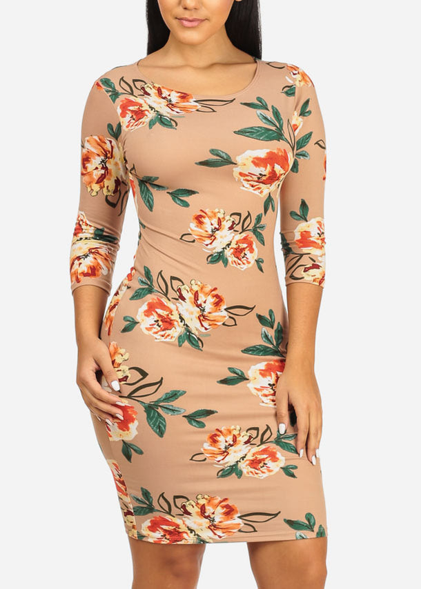 Beige Floral Bodycon Dress