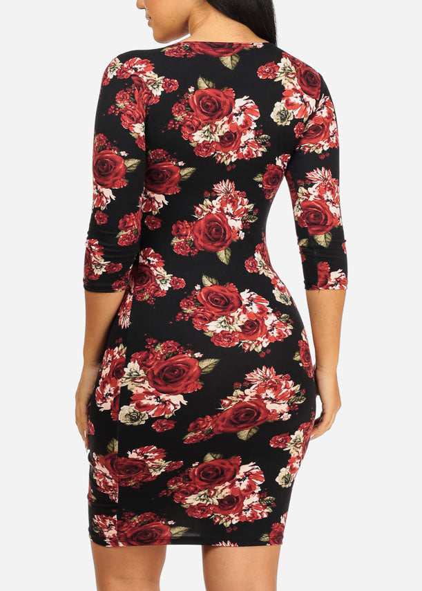 Black and Pink Rose Bodycon Dress