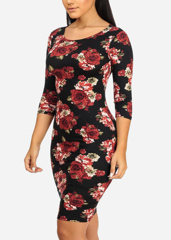 Image of Black and Pink Rose Bodycon Dress
