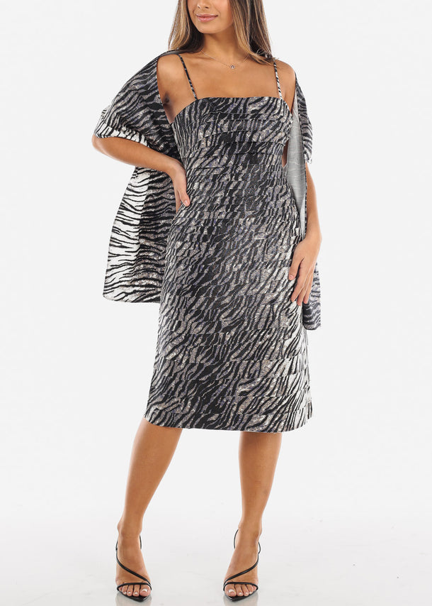 Grey Elegant Tiger Print Spaghetti Strap Dress w Shawl