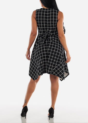 Sleeveless Plaid Black Midi Dress