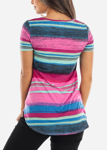 Multi Color Stripe Fuchsia V-Neck Shirt