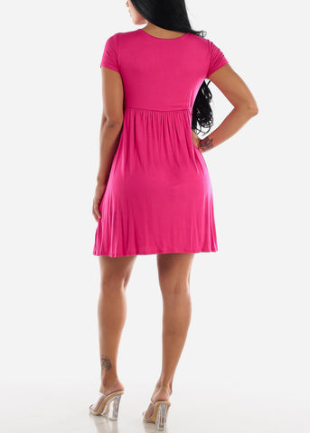 Wrap Front Short Sleeve Fushia Dress