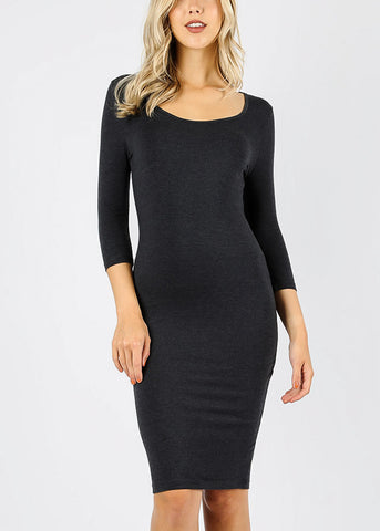 Dark Grey Bodycon Midi Dress