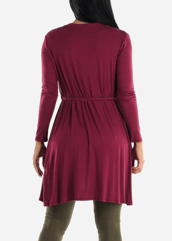 Image of Long Sleeve Burgundy Maxi Cardigan