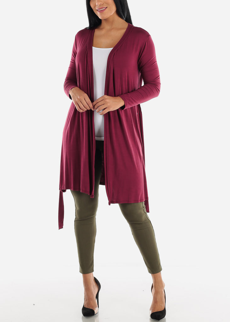 Long Sleeve Burgundy Maxi Cardigan