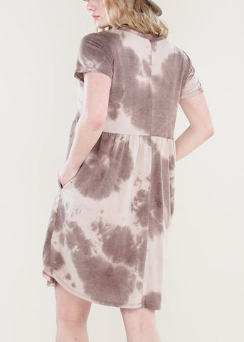 Image of Brown Tie Dye Dress