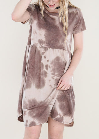 Brown Tie Dye Dress