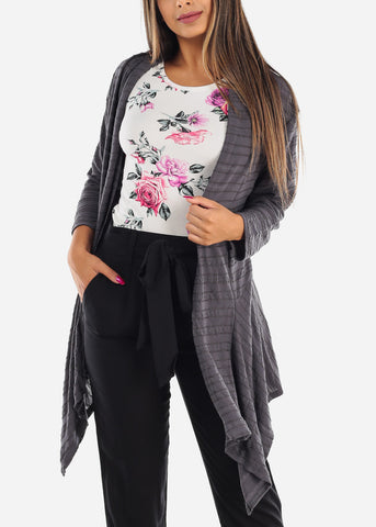 Cozy Warm Stretchy Stylish Charcoal Cream Cardigan For Ladies Women Junior