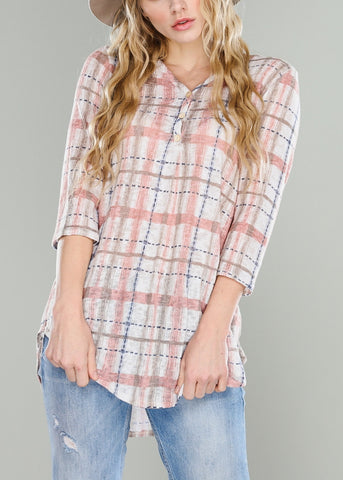 Rose Plaid Tunic Top