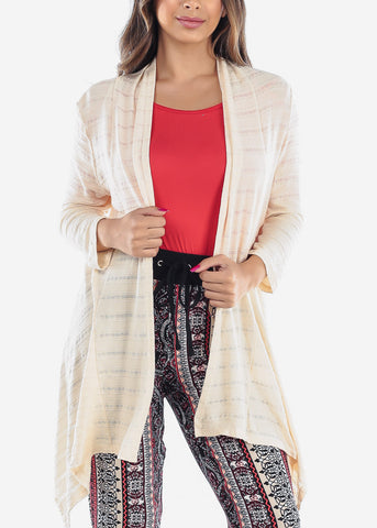 Image of Cozy Warm Stretchy Stylish Light Beige Cream Cardigan For Ladies Women Junior