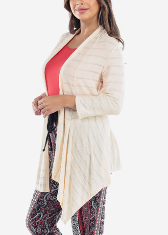 Cozy Warm Stretchy Stylish Light Beige Cream Cardigan For Ladies Women Junior
