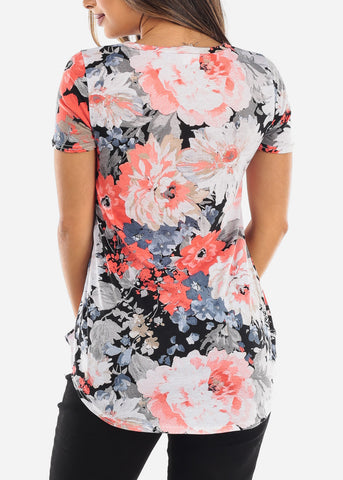 Image of Floral Print Coral V-Neck Shirt