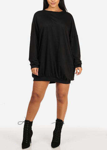 Comfy Black Loose Lace Up Dress