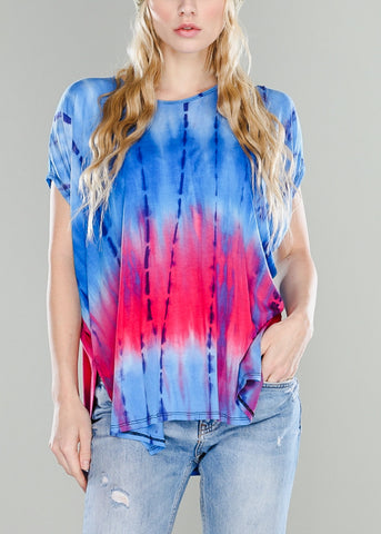 Blue & Pink Oversized Tie Dye Top