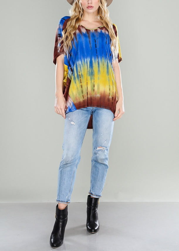 Blue Oversized Tie Dye Top