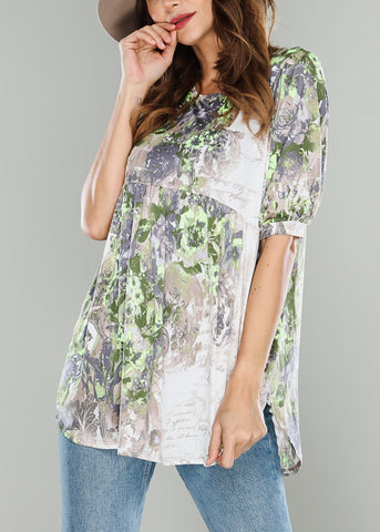 Green Round Hem Top
