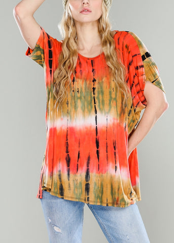 Coral Oversized Tie Dye Top