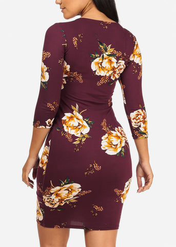 Purple Yellow Floral Print Dress