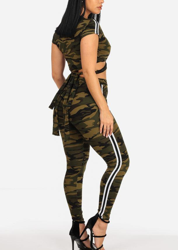 Camo Crop Top & Skinny Pants (2PCE SET)