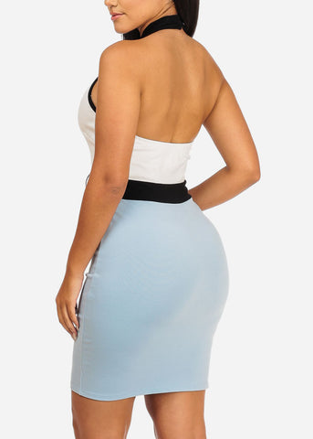 White and Blue Keyhole Dress