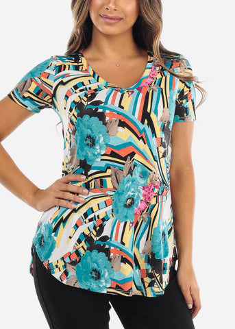 Image of Multi Color Floral V-Neck Shirt