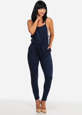 Image of Navy Jersey Drawstring Jumpsuit