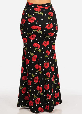Image of High Rise Black Print Maxi Skirt