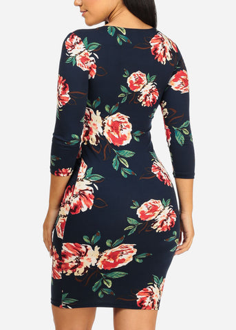 Navy Rose Bodycon Dress
