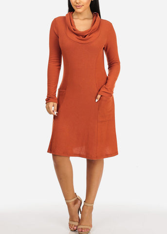 Cowl Neckline Orange Dress W Pockets