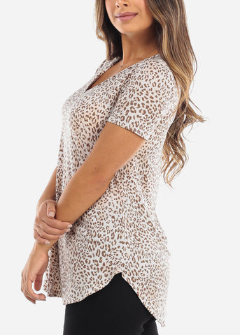 Cream & Brown Animal Print V-Neck Shirt